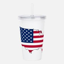 USA Flag Map Acrylic Double-wall Tumbler