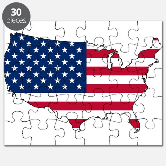 USA Flag Map Puzzle