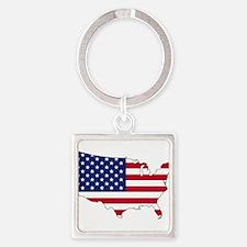 USA Flag Map Keychains