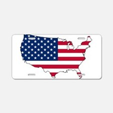 USA Flag Map Aluminum License Plate