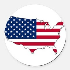 USA Flag Map Round Car Magnet