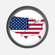 USA Flag Map Wall Clock