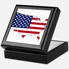 USA Flag Map Keepsake Box