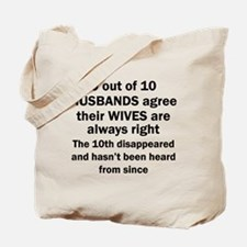 9 out of 10 HUSBANDS Tote Bag