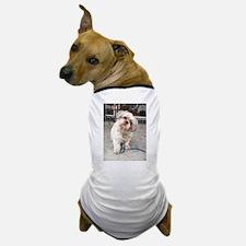 dog on leash at cafe Dog T-Shirt