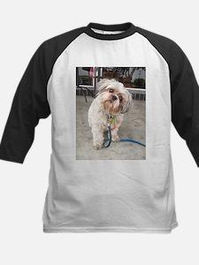 dog on leash at cafe Baseball Jersey