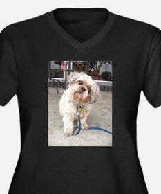 dog on leash at cafe Plus Size T-Shirt