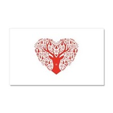 Christmas deer red heart Car Magnet 20 x 12