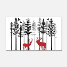 Reindeer in fir tree forest Car Magnet 20 x 12