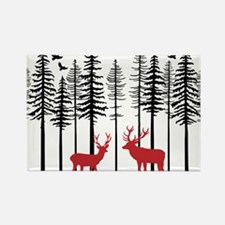 Reindeer in fir tree forest Magnets