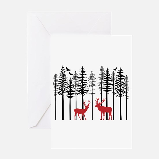 Reindeer in fir tree forest Greeting Cards