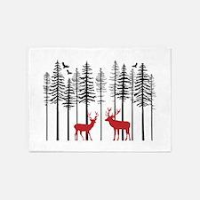 Reindeer in fir tree forest 5'x7'Area Rug