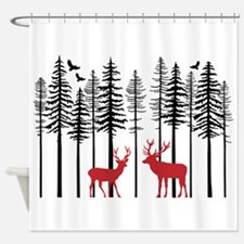 Reindeer in fir tree forest Shower Curtain