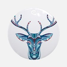 Colorful Deer Head Tribal Illustrat Round Ornament