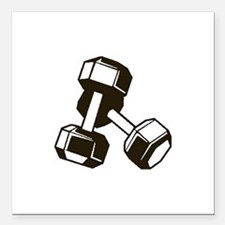 "Fitness Dumbbells Square Car Magnet 3"" x 3"""
