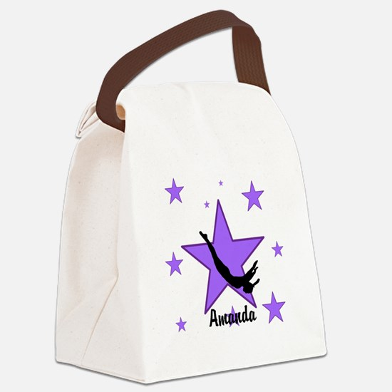Purple Trampoline Star Canvas Lunch Bag