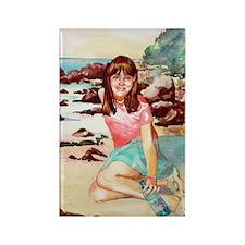Girl on a Beach Rectangle Magnet