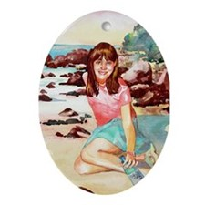 Girl on a Beach Oval Ornament