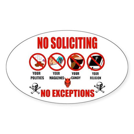 No Solicitors Oval Sticker
