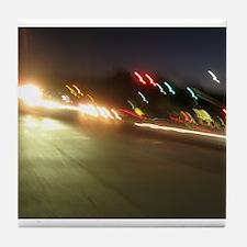 IMG_9517.JPG traffic at night colorfu Tile Coaster