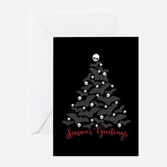 Bats And Skulls Holiday Tree Greeting Card