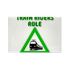 Train Riding Rectangle Magnet