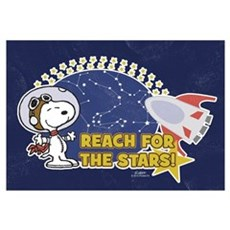 Snoopy - Reach For The Stars Wall Art Framed Print