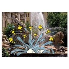 Snoopy And Woodstock - Fountain Time Wall Art Canvas Art