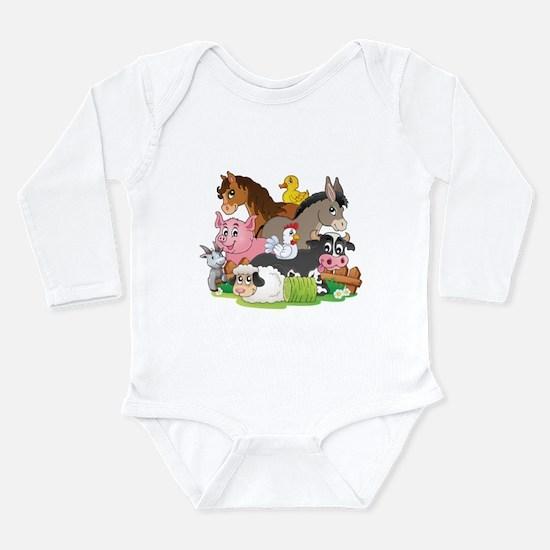 Cute Animals horse Long Sleeve Infant Bodysuit