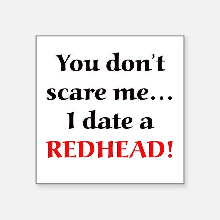 "Cute In love with a redhead Square Sticker 3"" x 3"""