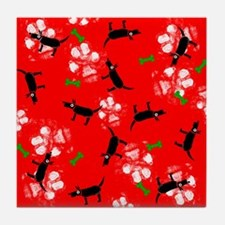 Dogs on Paws Christmas! Tile Coaster
