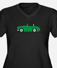 Green MG Mid Women's Plus Size V-Neck Dark T-Shirt
