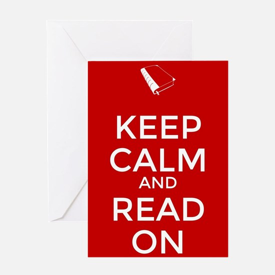Keep Calm and Read On Greeting Cards