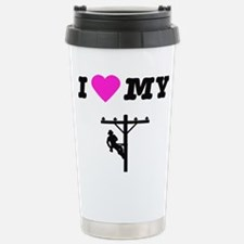 Cute Linemans wife Travel Mug