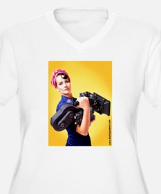 Rosie The Camera Woman V-Neck Plus Size T-Shirt