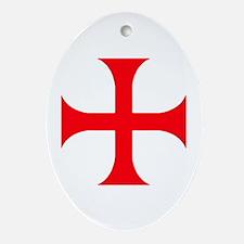 Templar Red Cross Oval Ornament