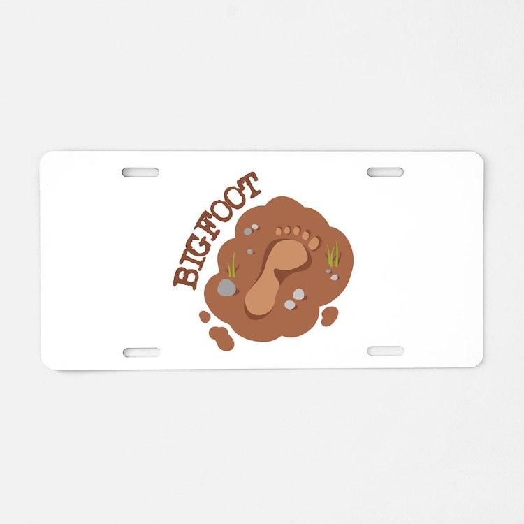 Bigfoot Footprint Aluminum License Plate