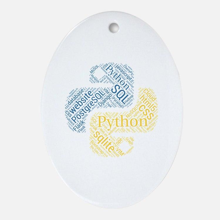 Cute Python Oval Ornament