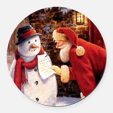 Santa Reading Note Round Car Magnet