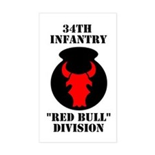 34th Infantry Division (4) Rectangle Decal