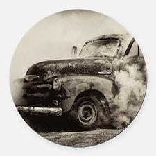 Burnout Pit Truck Round Car Magnet