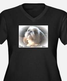 Cute Animals and wildlife Women's Plus Size V-Neck Dark T-Shirt