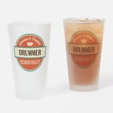 drummer vintage logo Drinking Glass