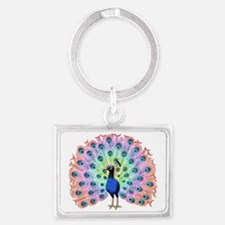 Colorful Peacock Landscape Keychain