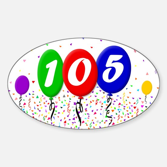 105th Birthday Oval Decal