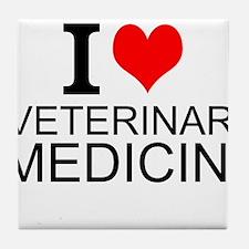 I Love Veterinary Medicine Tile Coaster
