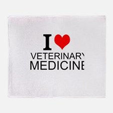 I Love Veterinary Medicine Throw Blanket