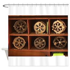 antique spools in cabine Shower Curtain