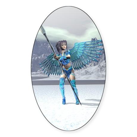 Ice Faery Warrior Oval Sticker
