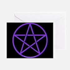 Purple/Black Pentagram Greeting Card
